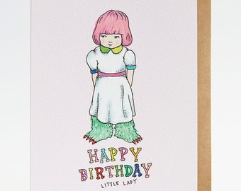 Happy birthday card, funny happy birthday card, birthday card for her, birthday card sister, birthday card daughter, 'Little Lady', handmade