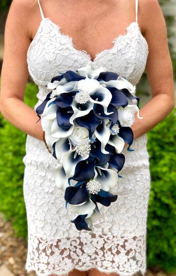 Navy Blue Calla Lily Bouquet Cascade Calla Lily Bouquet Bling Bouquet Navy Blue Bouquet, Brooch Bouquet Cascading Navy Blue Bouquet