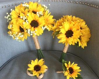 Sunflower bouquet etsy customize your package sunflower bouquet sunflower bouquet sunflower bridal bouquet sunflower bridesmaid junglespirit Images