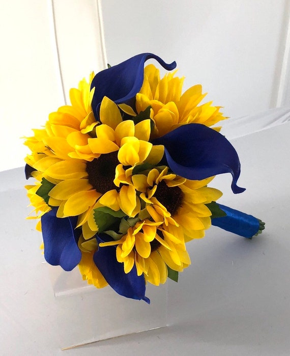 Sunflower Bouquet Babys Breath Sunflower Bouquet 12 Sunflower Bridal Bouquet Sunflower And Calla Lily Bouquet Silk Royal Blue Bouquet