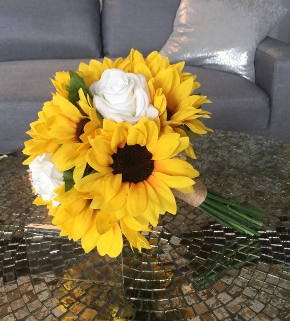 Sunflower Bouquet Sunflower And Rose Bouquet White Rose Etsy