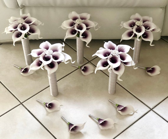 Customize Your Package Purple Calla Lily Bridesmaid Bouquet Etsy
