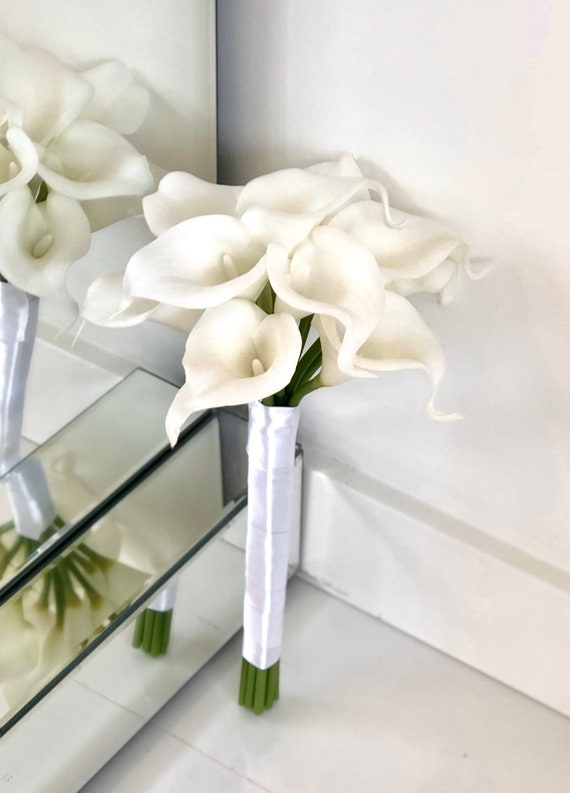 White Calla Lily Bouquet Cream Calla Lily Bouquet Real Touch Etsy
