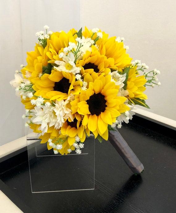 10 Sunflower Bouquet Babys Breath And Sunflower Etsy