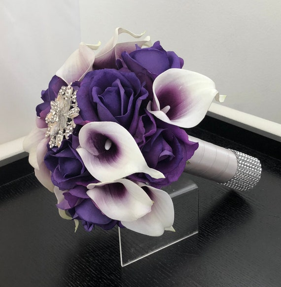 Purple Calla Lily Bouquet Purple Bouquet Real Touch Roses Etsy