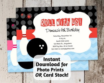 Printable Retro Bowling Invitation for Birthday Party - boy blue / girl pink - Instant digital file download - Photo Prints / Card Stock