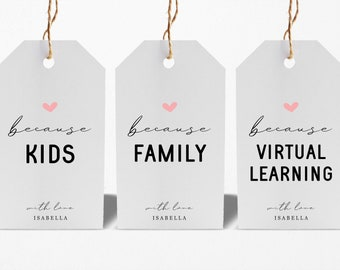 Printable Just Because Wine Tag Template, Funny Kids Crazy Family Virtual Learning 2020 Pandemic Gift, Instant Download Digital File DIY PDF
