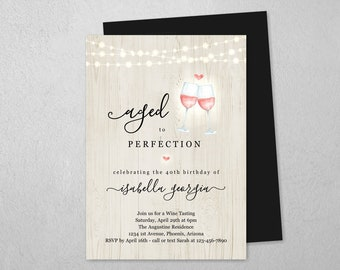 Wine Tasting Birthday Invitation Template, Winery Party Theme Invite Download Digital File, Aged to Perfection 30th 30 40th 40 50th 50 Year