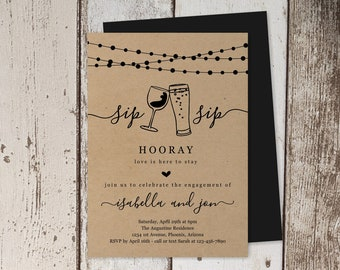 Sip Sip Hooray Engagement Party Invitation Template, Printable Rustic Beer Wine Toast Kraft Paper Invite Evite Instant Download Digital File