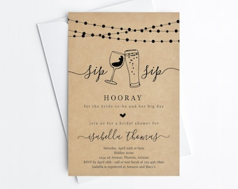 Sip Sip Hooray Bridal Shower Invitation Template, Printable Beer Wine Toast Theme Invite, Rustic Kraft Paper Instant Download Digital File
