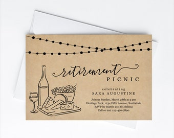 Retirement Picnic Invitation Template, Rustic Cheese Wine Tasting Woman Surprise Party Invite & Evite Instant Download Digital File Park