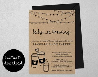 Baby is Brewing Baby Shower Invitation Template - Printable Coffee Tea Theme Invite & Evite - Coed Couples Instant Download Digital File PDF