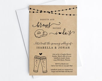 Donuts & Brews Before I Do Couple Shower Invitation Template, Doughnut Beer Bridal Wedding Rehearsal Dinner Engagement Party Invite Download