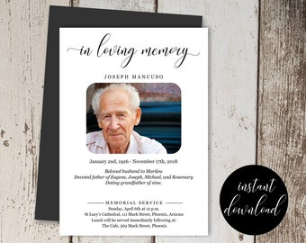 Funeral Announcement Template - Printable Memorial Service, Mass Invitation - Simple Invite Card - Instant Download Digital File 5x7 PDF