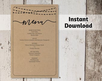 Printable Wedding Menu Template - Rustic String Lights, Calligraphy Bar Menu on Kraft Paper | Editable DIY PDF Digital File Instant Download