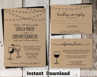 Wine Wedding Invitation Template - Rustic Winery Glass Toast / Vineyard Printable Set - Instant Download Digital File PDF Suite Kraft Paper