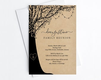 Family Reunion Invitation Template, Printable Family Tree Party Invite & Evite Rustic Kraft Paper Instant Download Digital File Editable PDF