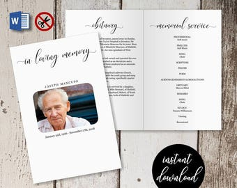 Funeral Program Template -  Printable Memorial Service Pamphlet - Order of Service Bulletin - Editable Word Instant Download Folded Booklet