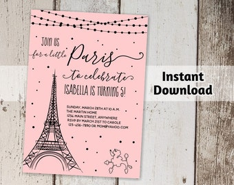 Paris Invitation - Girls Birthday Party Printable Template - Print on Card Stock with NO COLOR INK - Instant Download Digital File - 5x7 pdf