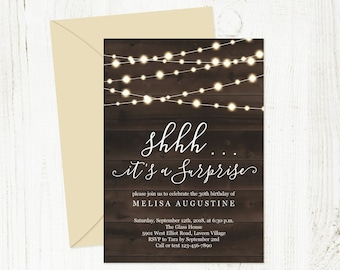 Surprise Party Invitation Template, Printable Rustic Birthday Anniversary Invite, String Fairy Light Wood, PDF Instant Download Digital File
