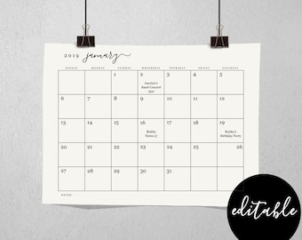 Editable Monthly Calendar Template - Printable 2018 and 2019 Desk Month Calendar - Simple Black & White - PDF Instant Download Digital File