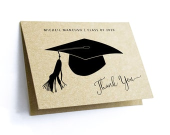 Graduation Thank You Card Template - Printable Women Men Girl Boy High School College Class of 2020 Editable Instant Download Digital File