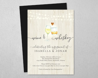 Wine & Whiskey Couple Shower Invitation Template, A Tasting Bridal Wedding Rehearsal Dinner Engagement Party, Invite Evite Instant Download