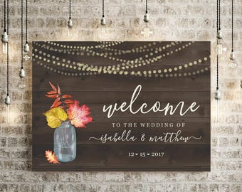 Fall Wedding Welcome Sign Printable Template - Rustic Watercolor Floral Leaf Mason Jar Fairy Light Wood Poster DIY PDF Download Digital File