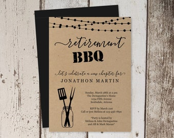 Printable Retirement BBQ Invitation Template - Barbeque Party, Barbecue - Rustic Mason Jar, Kraft Paper - Instant Download Digital File PDF