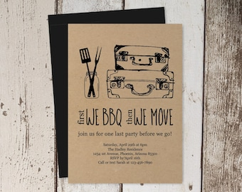 Going Away BBQ Invitation Template - Printable Farewell Barbeque Party - Rustic Bon Voyage Send Off Barbecue - Instant Download Digital File