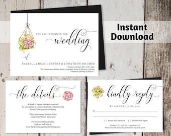 Hanging Succulent Wedding Invitation Template Printable Set - Geometric Terrarium - Editable Instant Download Digital File PDF Suite - Pink