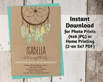 Dream Catcher Invitation - Feather Dreamcatcher Birthday Party Printable Kraft Paper Template - Instant Download Digital File - Women / Girl