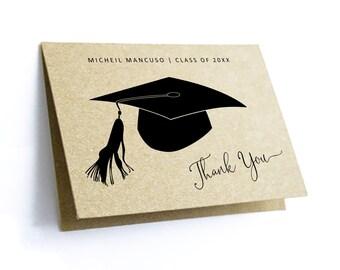 Graduation Thank You Card Template - Printable Women Men Girl Boy High School College Class of 2021 Editable Instant Download Digital File