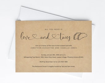 All You Need is Love & Tacos Invitation Template Rehearsal Dinner Couple Shower Engagement Anniversary Party Printable Invite Download Evite