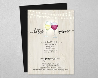 Wine Tasting Invitation Template, Printable Invite & Evite, Rustic Instant Download Digital File, Adult Birthday Party, Fundraiser Event