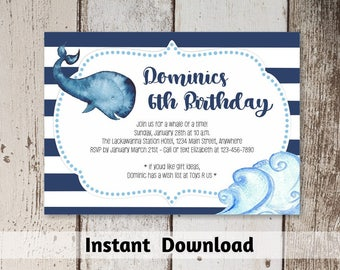Printable Aquarium Invitation Download - Whale Invitation Template - Navy Nautical Birthday Party - Instant Digital File Editable PDF