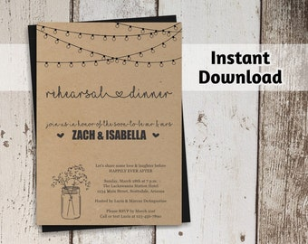 Printable Rehearsal Dinner Invitation Template, Luncheon, Rustic Mason Jar, Kraft Paper, 4x6 5x7 PDF Instant Download Digital File, Printed