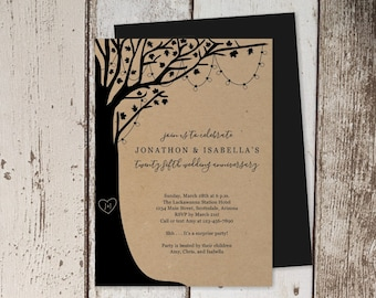 Wedding Anniversary Invitation Template, Rustic Tree, Wood, String Fairy Light, Printable Instant Download Digital File, 25th 30th 40th 50th