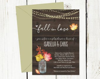 Fall in Love Invitation Template - Couple / Bridal Shower, Engagement Party, Rehearsal Dinner, Reception Only - Printable Rustic Floral Leaf