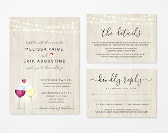 Winery Wedding Invitation Template, Printable Set, Rustic Red & White Wine Glass Toast, Instant Download Digital File DIY Editable PDF Suite