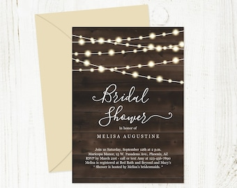 Rustic Bridal Shower Invitation Template - Printable Invite - Twinkle Fairy Lights, Country Chic Wood - Instant Download Digital File PDF