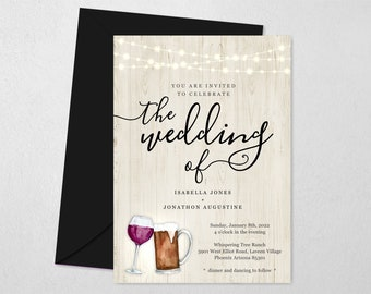 Beer & Wine Wedding Invitation Template, Printable Brewery Theme Invite, Toast, Light Wood, String Light, Instant Download Digital File PDF