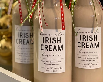Homemade Irish Cream Liqueur Label Template - Printable Gift Bottle Sticker, Personalize Custom Editable Digital File Instant Download DIY