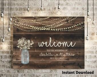 Wedding Welcome Sign Printable Template - Rustic Baby Breath, Mason Jar, Light, Wood Background Poster DIY PDF Instant Download Digital File