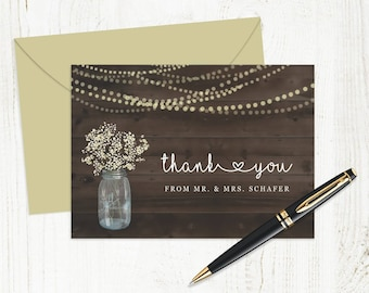 Printable Wedding Thank You Card Template - Rustic Mason Jar with Baby's Breath and Fairy Lights on Wood | Editable DIY Instant Download