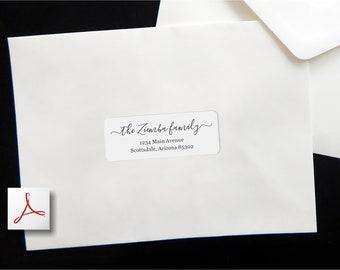 "Address Label Template - Printable Envelope Label, Avery 1 x 2-5/8"" - Wedding, Christmas, etc - Instant Download Digital File Editable PDF"