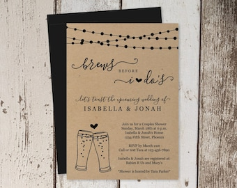 Brews Before I Do Couple Shower Invitation Template, Rustic Beer Brewery Bridal Wedding Rehearsal Dinner Engagement Party Invite Download