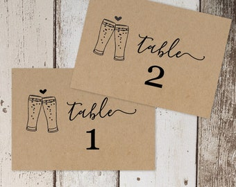 Wedding Table Number Template - Brewery Beer Toast Table Card Printable - Rustic Calligraphy on Kraft Paper | Editable PDF Instant Download