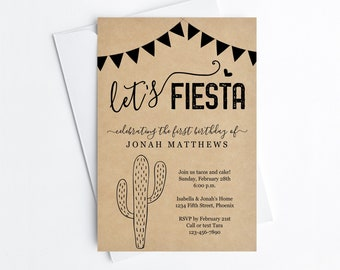 Let's Fiesta Invitation Template - Printable Mexican Theme Birthday Party Invite - 1st, Cactus, Kraft Paper, Instant Download Digital File