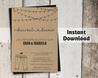 Brewery Rehearsal Dinner Invitation Printable Template - Rustic Beer Toast on Kraft Paper | Editable DIY PDF | Instant Download Digital File